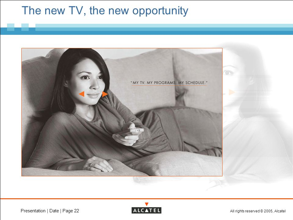 All rights reserved © 2005, Alcatel Presentation | Date | Page 22 The new TV, the new opportunity