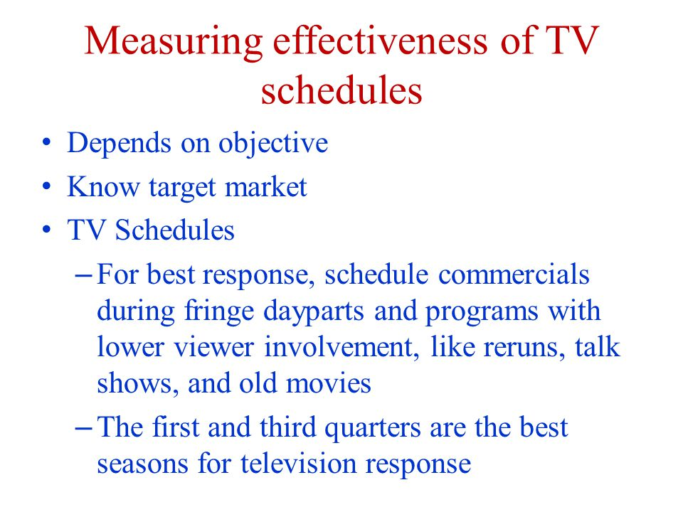 Measuring effectiveness of TV schedules Depends on objective Know target market TV Schedules – For best response, schedule commercials during fringe dayparts and programs with lower viewer involvement, like reruns, talk shows, and old movies – The first and third quarters are the best seasons for television response