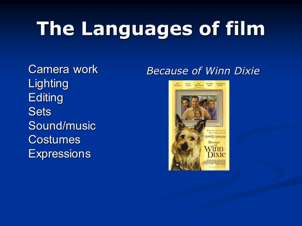 The Languages of film Camera work Lighting Editing Sets Sound/music Costumes Expressions Because of Winn Dixie