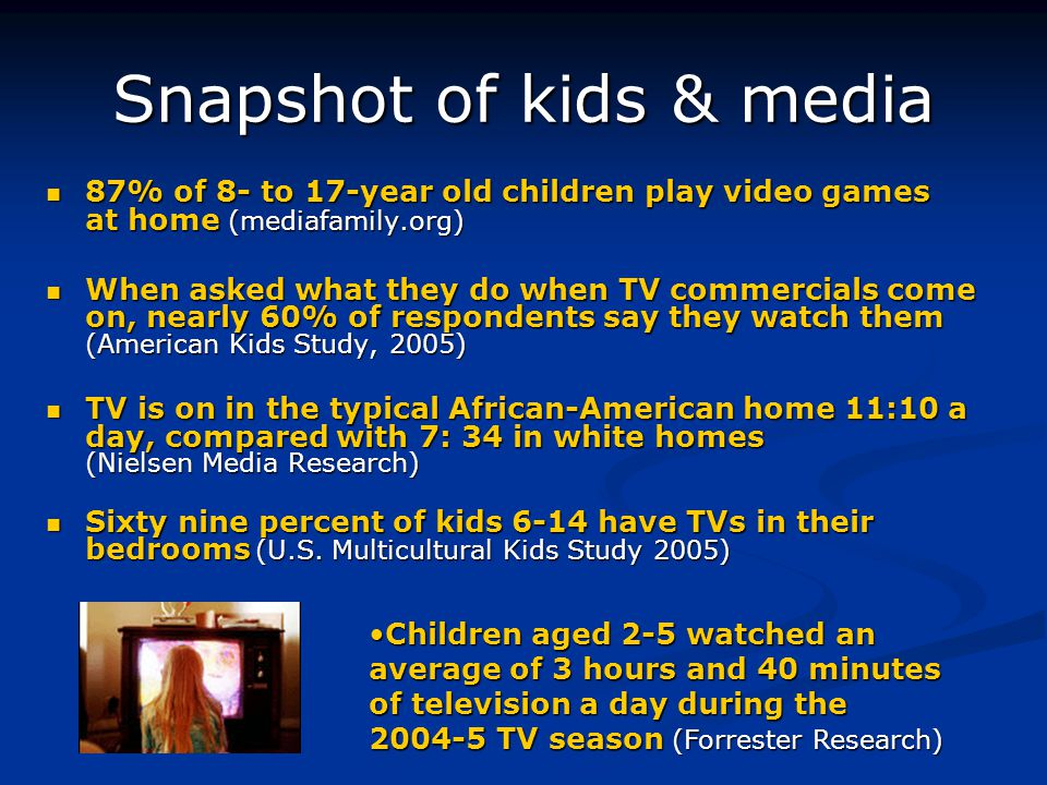 Snapshot of kids & media 87% of 8- to 17-year old children play video games at home (mediafamily.org) 87% of 8- to 17-year old children play video games at home (mediafamily.org) When asked what they do when TV commercials come on, nearly 60% of respondents say they watch them (American Kids Study, 2005) When asked what they do when TV commercials come on, nearly 60% of respondents say they watch them (American Kids Study, 2005) TV is on in the typical African-American home 11:10 a day, compared with 7: 34 in white homes (Nielsen Media Research) TV is on in the typical African-American home 11:10 a day, compared with 7: 34 in white homes (Nielsen Media Research) Sixty nine percent of kids 6-14 have TVs in their bedrooms (U.S.