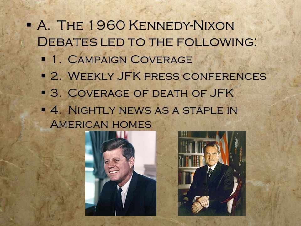 A. The 1960 Kennedy-Nixon Debates led to the following: 1.