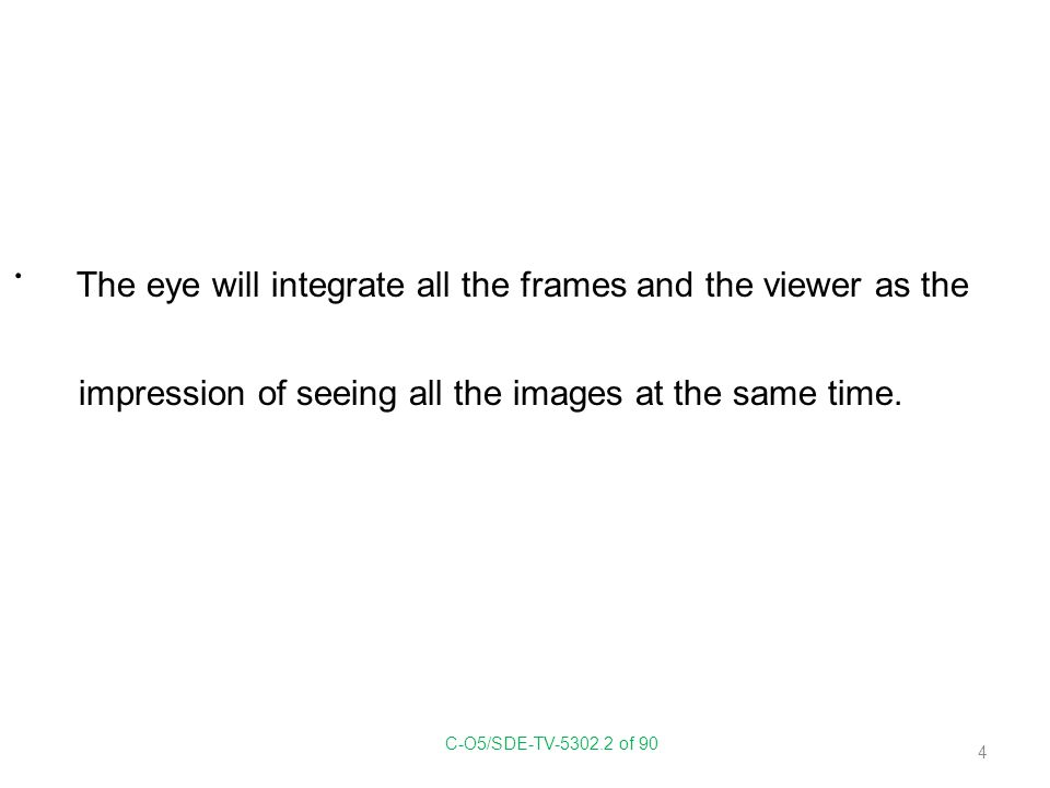 The eye will integrate all the frames and the viewer as the impression of seeing all the images at the same time. C-O5/SDE-TV-5302.2 of 90 4