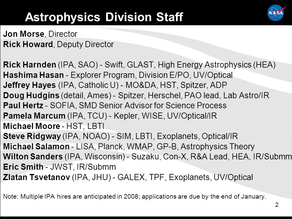 23 Astrophysics Division: Programmatic Balance Recent community reports call for re-establishing balance among small, medium, and large missions in the Astrophysics program: Astronomy & Astrophysics Advisory Committee 2007 Annual Report: The balance between small, medium and large programs in the NASA Astrophysics Division has been undermined.
