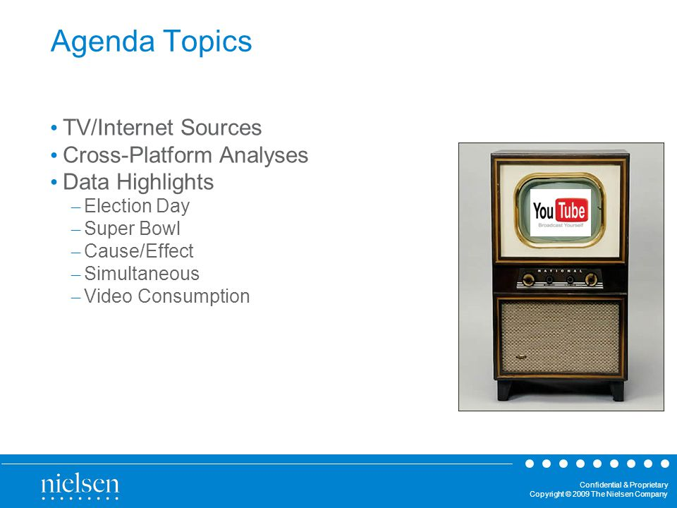 Confidential & Proprietary Copyright © 2009 The Nielsen Company TV/Internet Measurement Were answering a variety of questions: Are TV and Internet usage complementary.