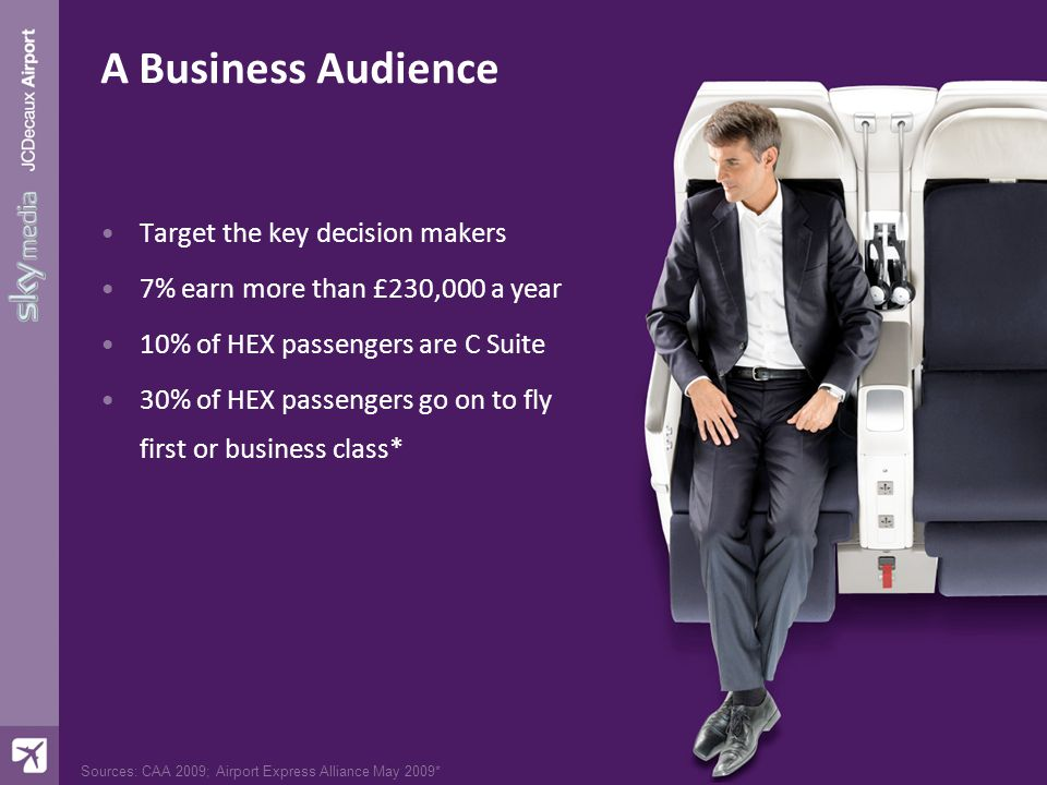 Sources: CAA 2009; Airport Express Alliance May 2009* A Business Audience Target the key decision makers 7% earn more than £230,000 a year 10% of HEX passengers are C Suite 30% of HEX passengers go on to fly first or business class*