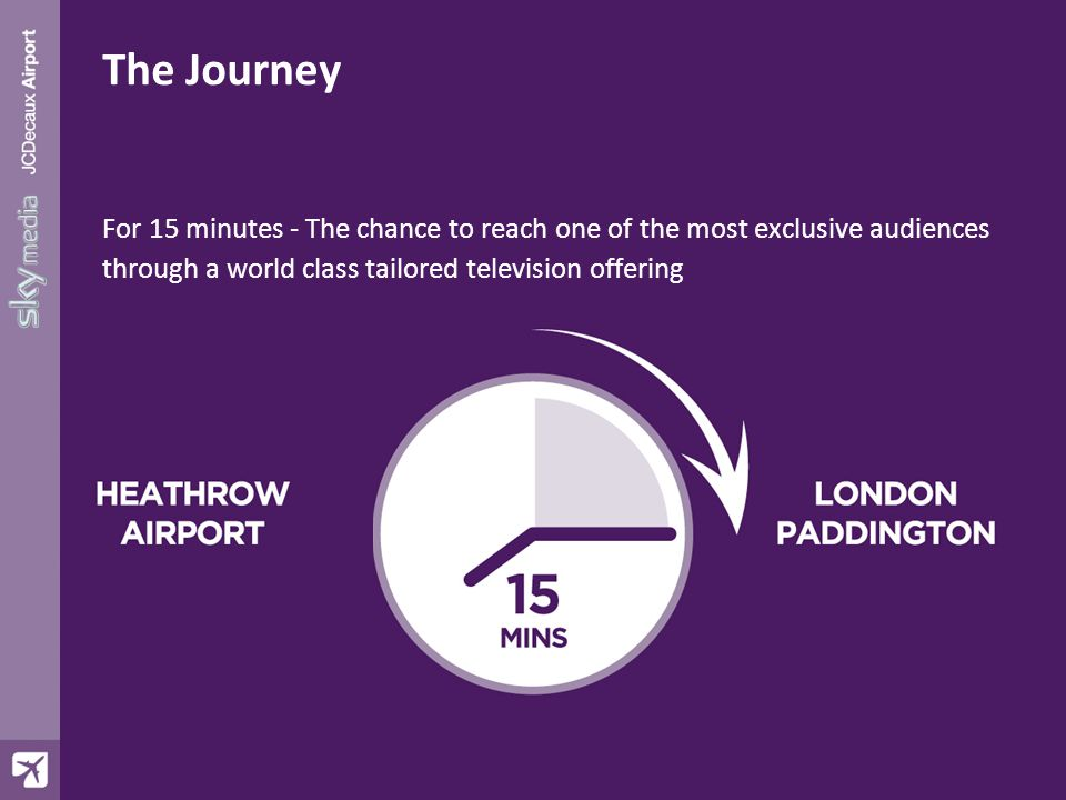 The Journey For 15 minutes - The chance to reach one of the most exclusive audiences through a world class tailored television offering