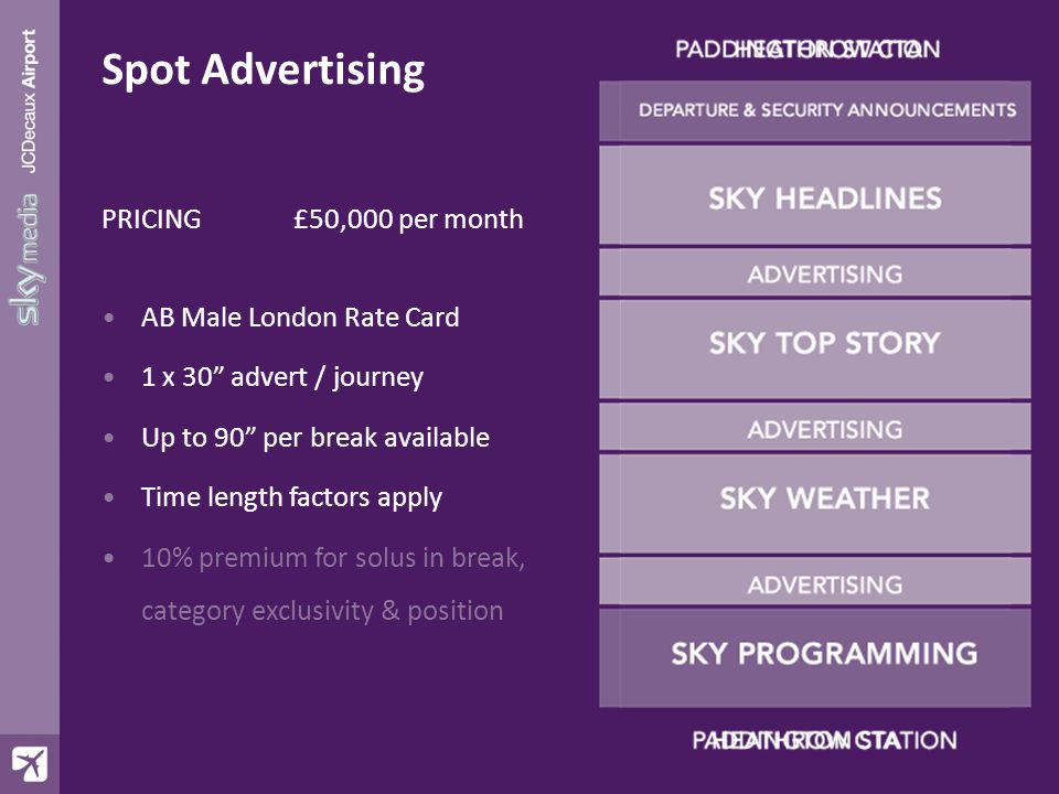 PRICING £50,000 per month AB Male London Rate Card 1 x 30 advert / journey Up to 90 per break available Time length factors apply 10% premium for solus in break, category exclusivity & position Spot Advertising