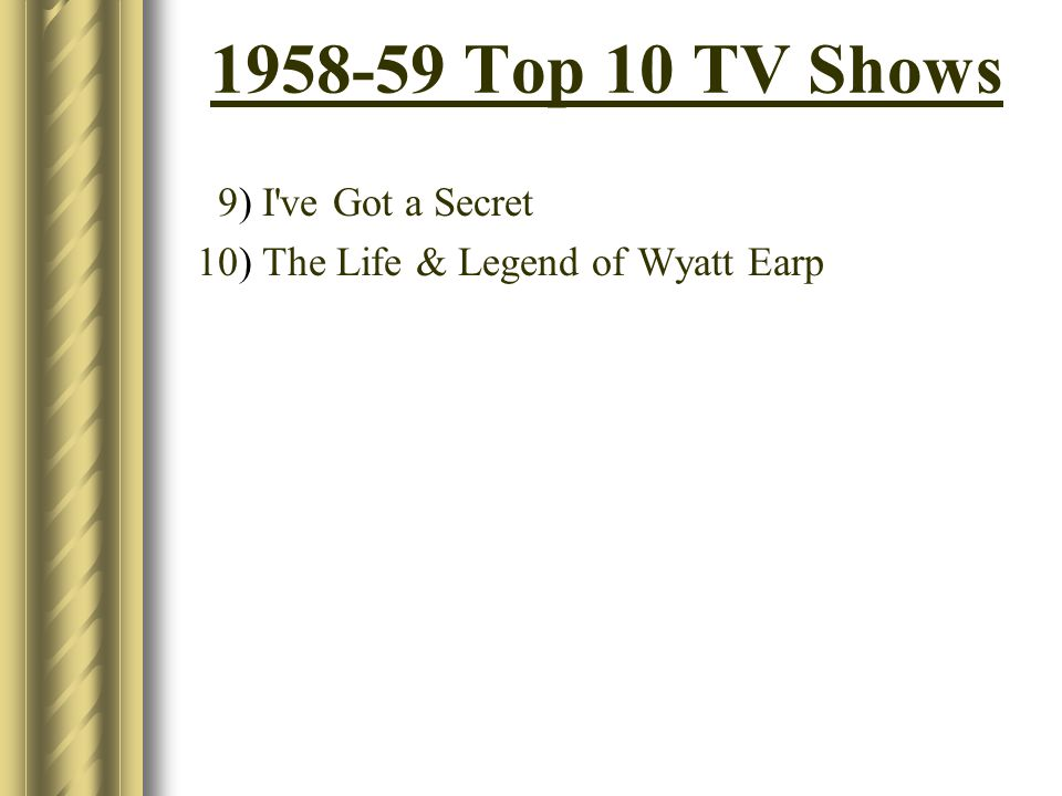 1958-59 Top 10 TV Shows 9) I ve Got a Secret 10) The Life & Legend of Wyatt Earp