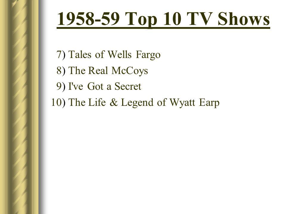 1958-59 Top 10 TV Shows 7) Tales of Wells Fargo 8) The Real McCoys 9) I've Got a Secret 10) The Life & Legend of Wyatt Earp