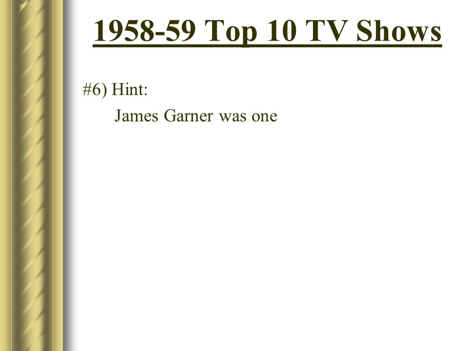 1958-59 Top 10 TV Shows #6) Hint: James Garner was one