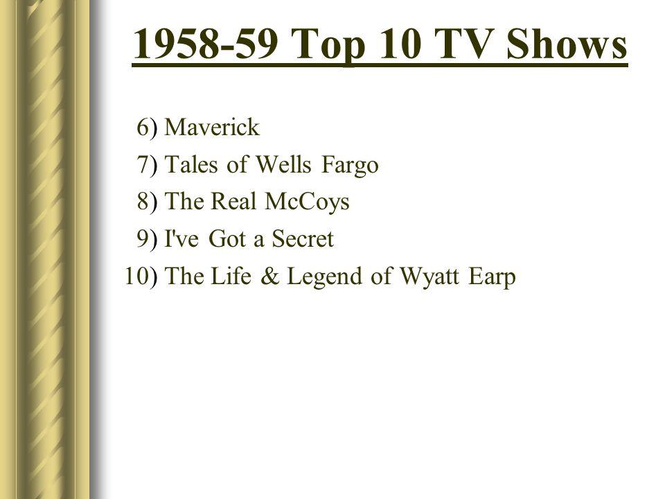 1958-59 Top 10 TV Shows 6) Maverick 7) Tales of Wells Fargo 8) The Real McCoys 9) I've Got a Secret 10) The Life & Legend of Wyatt Earp