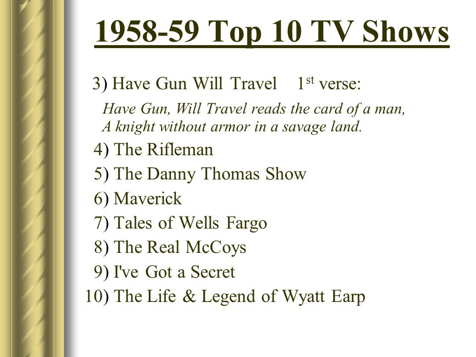 Top 10 TV Shows 3) Have Gun Will Travel 1 st verse: Have Gun, Will Travel reads the card of a man, A knight without armor in a savage land.
