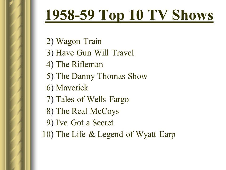 1958-59 Top 10 TV Shows 2) Wagon Train 3) Have Gun Will Travel 4) The Rifleman 5) The Danny Thomas Show 6) Maverick 7) Tales of Wells Fargo 8) The Rea