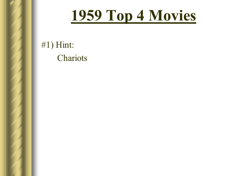 1959 Top 4 Movies #1) Hint: Chariots