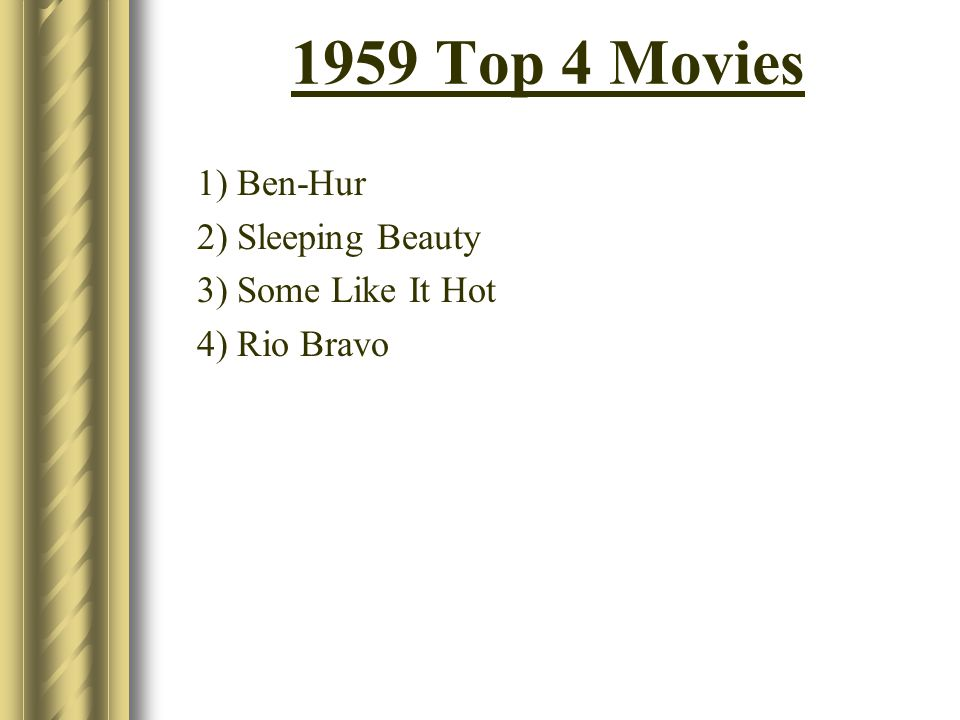 1959 Top 4 Movies 1) Ben-Hur 2) Sleeping Beauty 3) Some Like It Hot 4) Rio Bravo