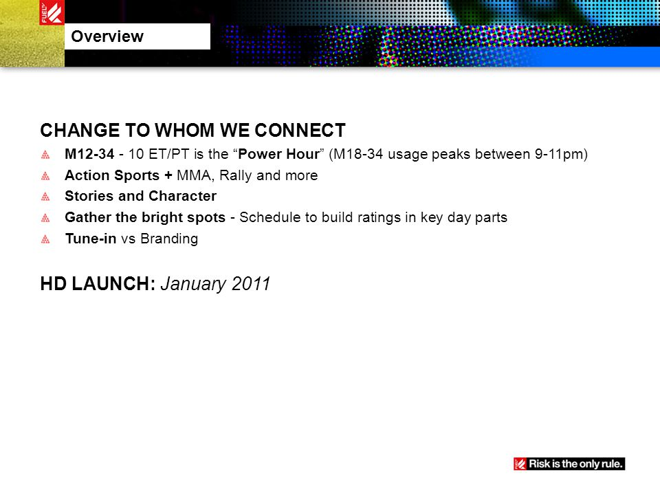 CHANGE TO WHOM WE CONNECT M12-34 - 10 ET/PT is the Power Hour (M18-34 usage peaks between 9-11pm) Action Sports + MMA, Rally and more Stories and Char