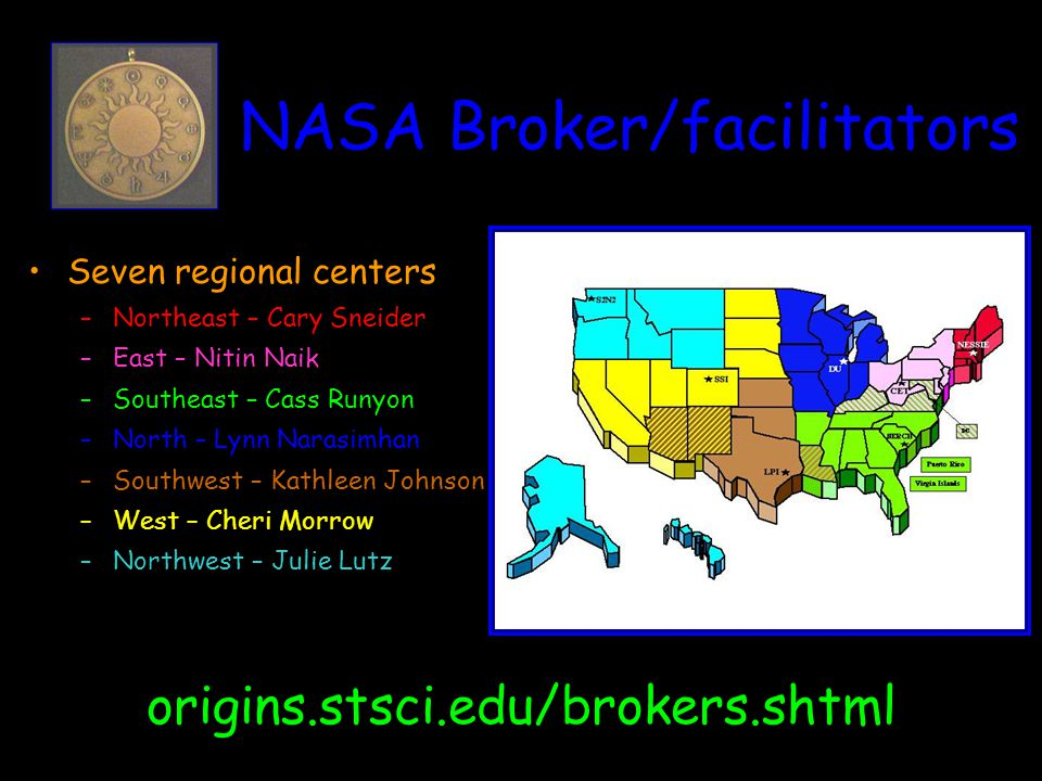 NASA Broker/facilitators Seven regional centers –Northeast – Cary Sneider –East – Nitin Naik –Southeast – Cass Runyon –North – Lynn Narasimhan –Southwest – Kathleen Johnson –West – Cheri Morrow –Northwest – Julie Lutz origins.stsci.edu/brokers.shtml