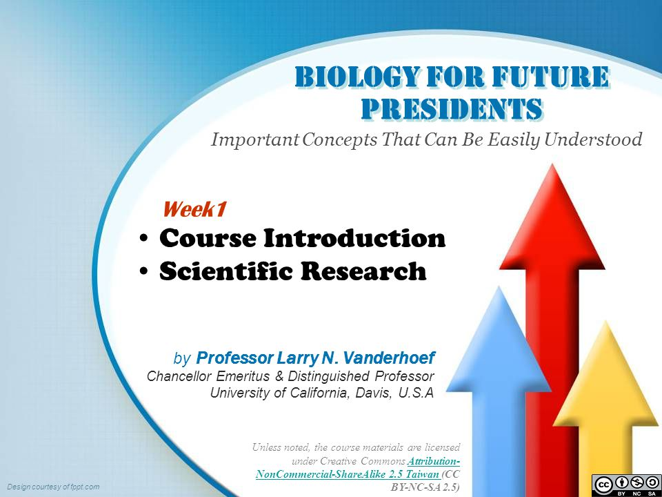Biology for Future Presidents Important Concepts That Can Be Easily Understood Unless noted, the course materials are licensed under Creative Commons