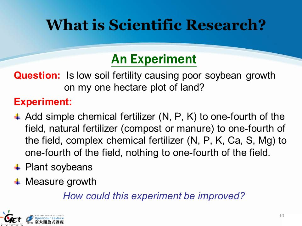 What is Scientific Research? An Experiment Question: Is low soil fertility causing poor soybean growth on my one hectare plot of land? Experiment: Add