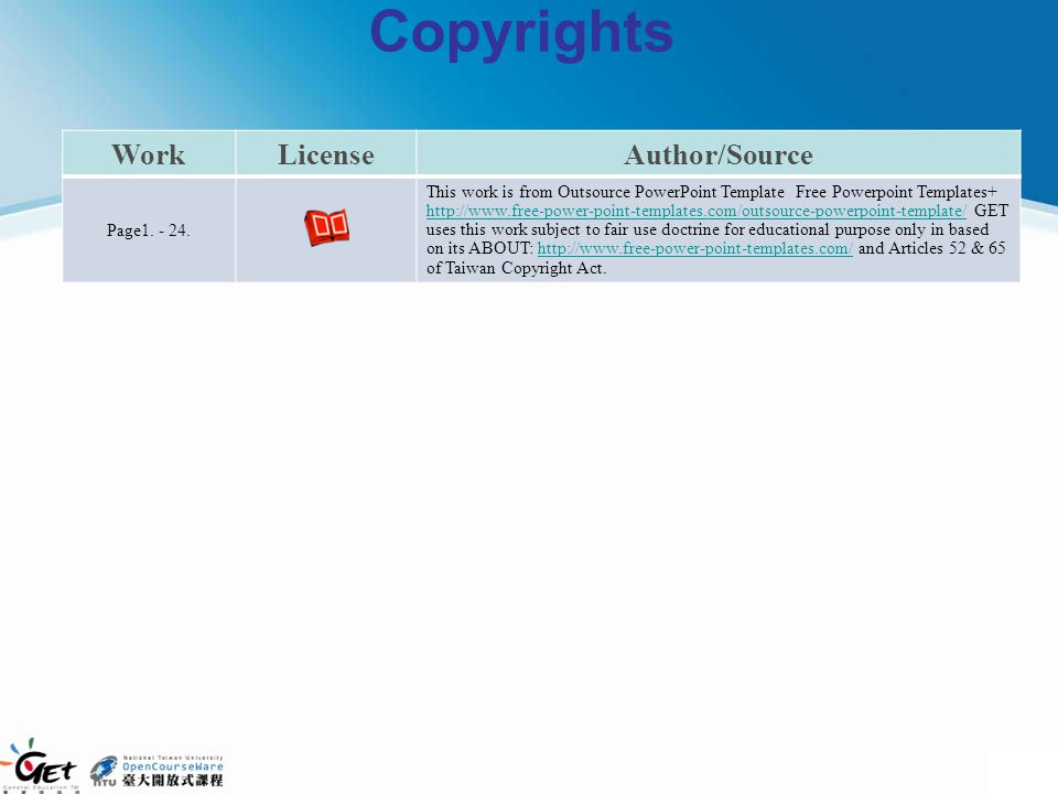 Copyrights WorkLicenseAuthor/Source Page1. - 24. This work is from Outsource PowerPoint Template Free Powerpoint Templates+ http://www.free-power-poin