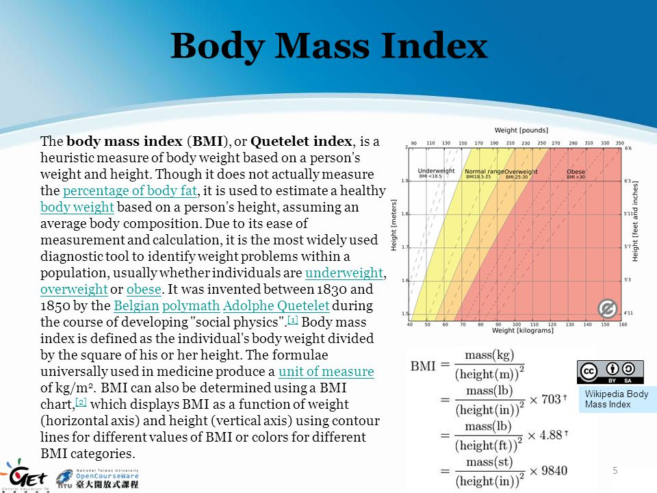 Body Mass Index The body mass index (BMI), or Quetelet index, is a heuristic measure of body weight based on a person's weight and height. Though it d