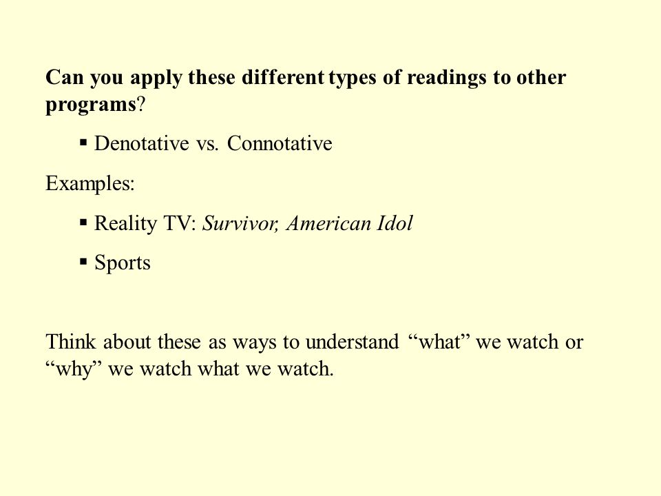 Can you apply these different types of readings to other programs.