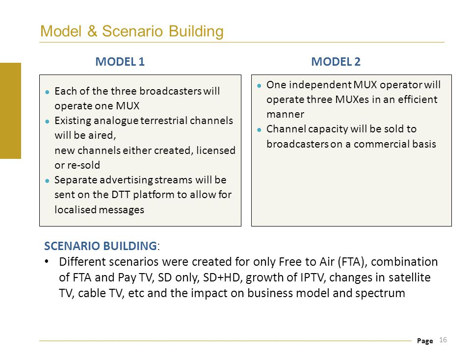 Page Model & Scenario Building 16 One independent MUX operator will operate three MUXes in an efficient manner Channel capacity will be sold to broadc