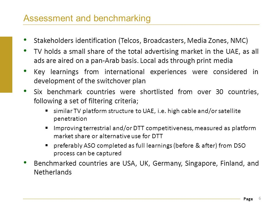 Page Assessment and benchmarking Stakeholders identification (Telcos, Broadcasters, Media Zones, NMC) TV holds a small share of the total advertising