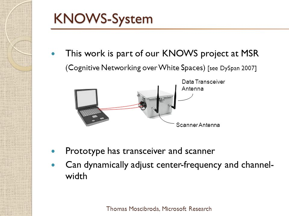 $ Thomas Moscibroda, Microsoft ResearchKNOWS-System This work is part of our KNOWS project at MSR (Cognitive Networking over White Spaces) [see DySpan 2007] Prototype has transceiver and scanner Can dynamically adjust center-frequency and channel- width Scanner Antenna Data Transceiver Antenna