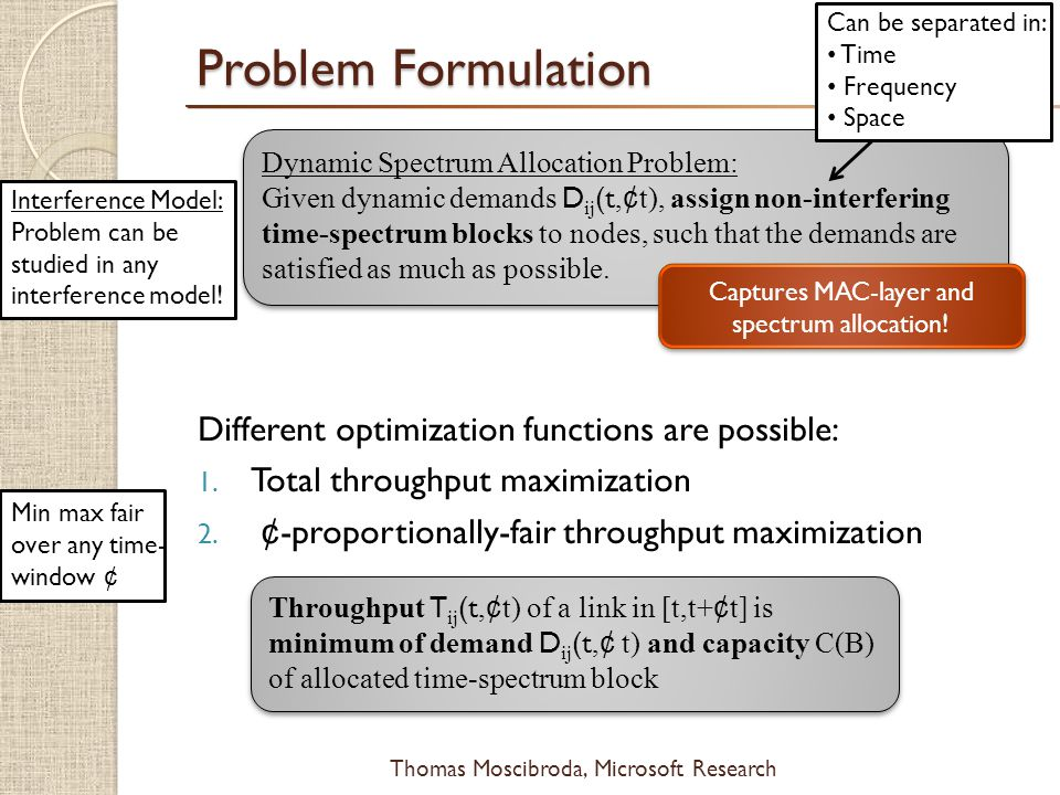 $ Thomas Moscibroda, Microsoft Research Problem Formulation Different optimization functions are possible: 1.