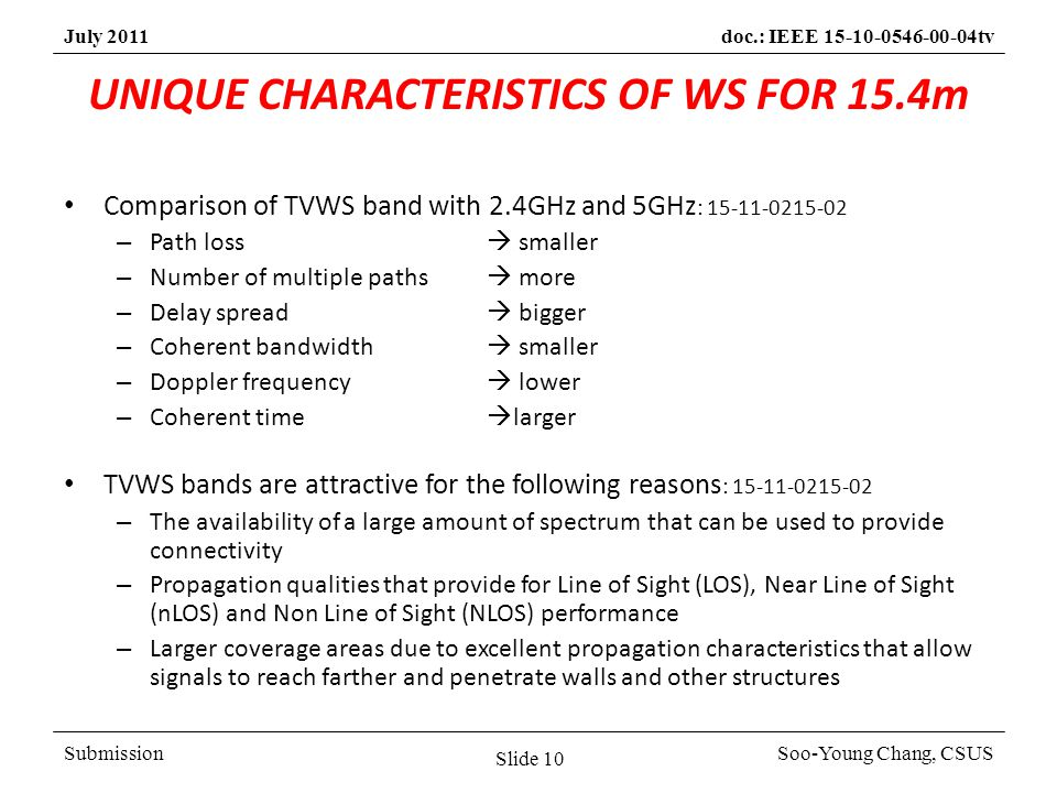 SubmissionSoo-Young Chang, CSUS July 2011doc.: IEEE 15-10-0546-00-04tv UNIQUE CHARACTERISTICS OF WS FOR 15.4m Comparison of TVWS band with 2.4GHz and 5GHz : 15-11-0215-02 – Path loss smaller – Number of multiple paths more – Delay spread bigger – Coherent bandwidth smaller – Doppler frequency lower – Coherent time larger TVWS bands are attractive for the following reasons : 15-11-0215-02 – The availability of a large amount of spectrum that can be used to provide connectivity – Propagation qualities that provide for Line of Sight (LOS), Near Line of Sight (nLOS) and Non Line of Sight (NLOS) performance – Larger coverage areas due to excellent propagation characteristics that allow signals to reach farther and penetrate walls and other structures Slide 10