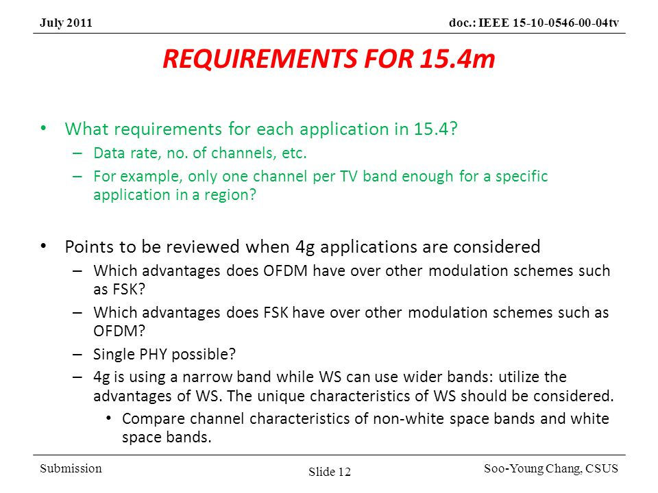 SubmissionSoo-Young Chang, CSUS July 2011doc.: IEEE 15-10-0546-00-04tv REQUIREMENTS FOR 15.4m What requirements for each application in 15.4.