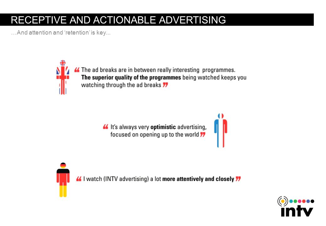 RECEPTIVE AND ACTIONABLE ADVERTISING …And attention and retention is key...