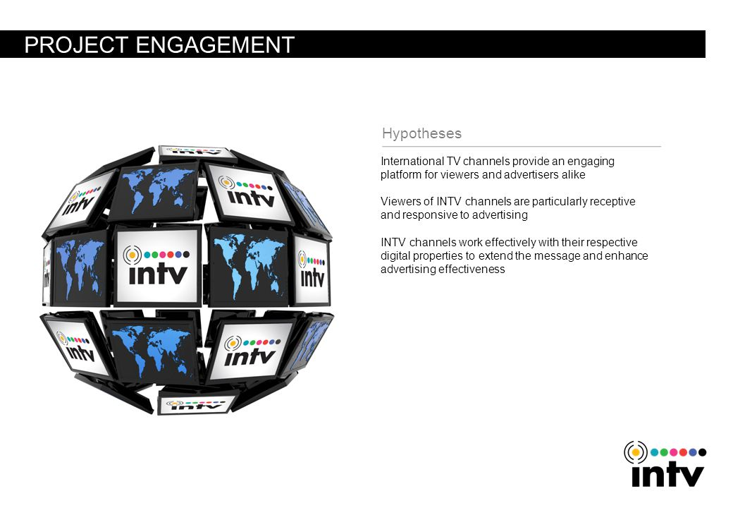 PROJECT ENGAGEMENT International TV channels provide an engaging platform for viewers and advertisers alike Viewers of INTV channels are particularly receptive and responsive to advertising INTV channels work effectively with their respective digital properties to extend the message and enhance advertising effectiveness Hypotheses