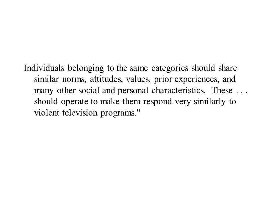 Individuals belonging to the same categories should share similar norms, attitudes, values, prior experiences, and many other social and personal char