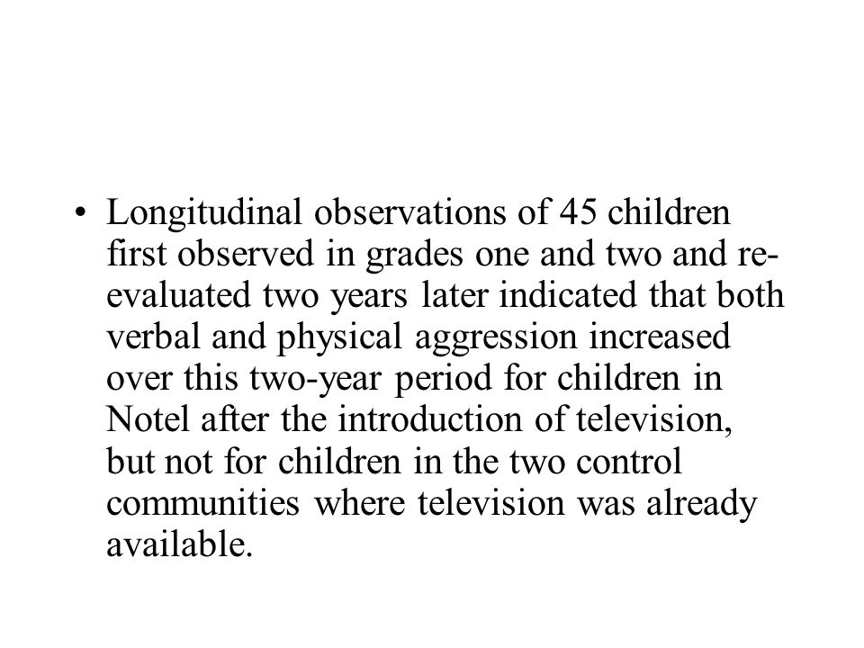 Longitudinal observations of 45 children first observed in grades one and two and re- evaluated two years later indicated that both verbal and physica