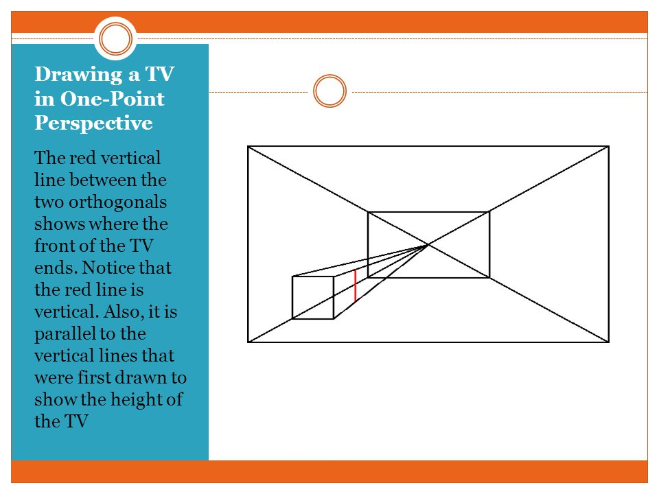 Drawing a TV in One-Point Perspective Once the side of the TV nearest the viewer is drawn orthogonals from the side to the vanishing point are drawn.