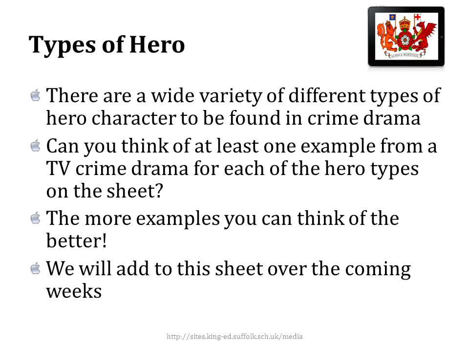 Media Language: Setting Crime dramas will use common settings/locations where the action takes place How many conventional settings can you think of.