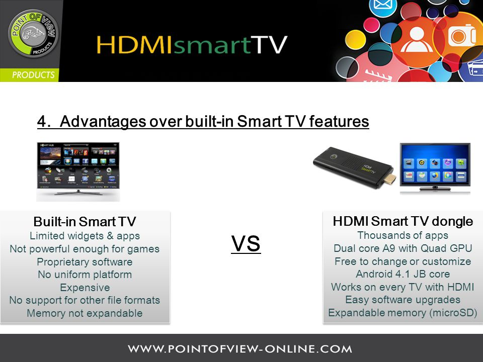 4. Advantages over built-in Smart TV features HDMI Smart TV dongle Thousands of apps Dual core A9 with Quad GPU Free to change or customize Android 4.