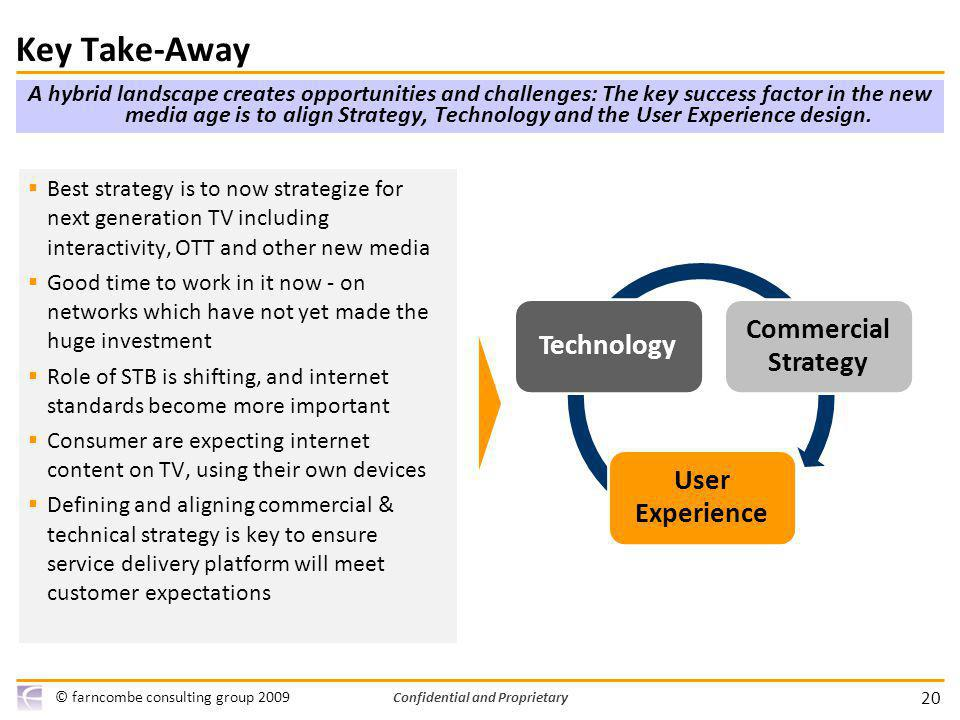 20 © farncombe consulting group 2009 Confidential and Proprietary A hybrid landscape creates opportunities and challenges: The key success factor in the new media age is to align Strategy, Technology and the User Experience design.