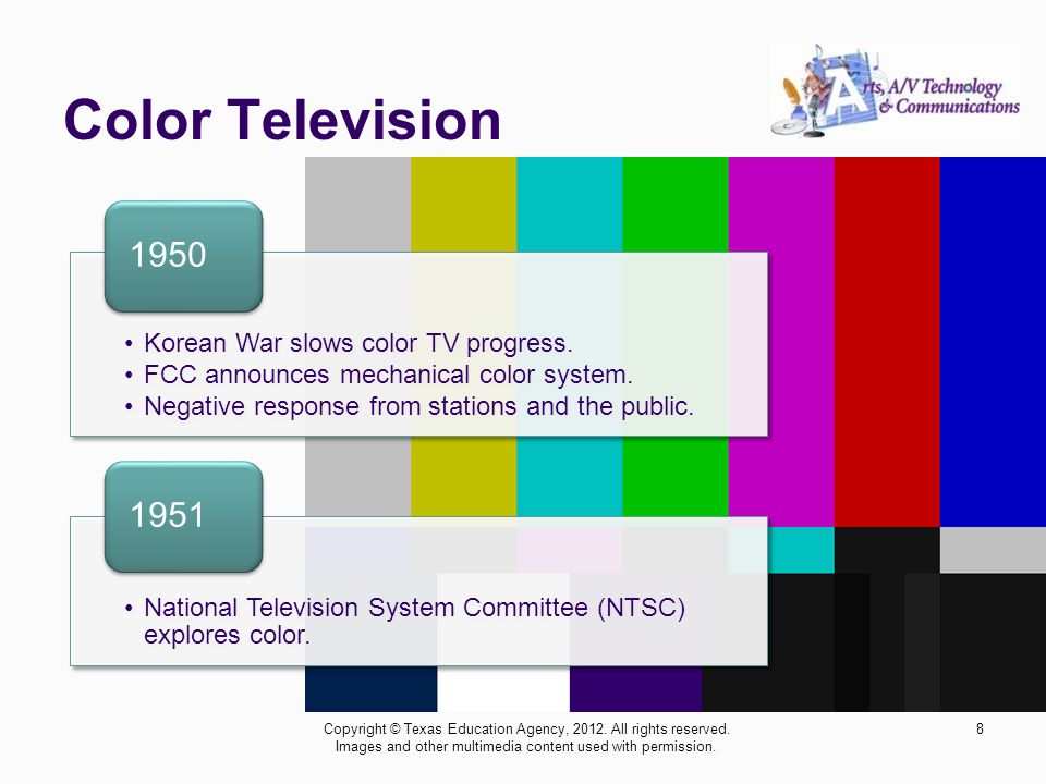 Color Television 8Copyright © Texas Education Agency, 2012. All rights reserved. Images and other multimedia content used with permission. Korean War