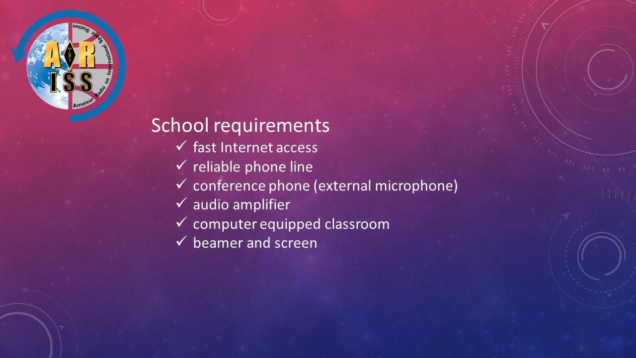 School requirements fast Internet access reliable phone line conference phone (external microphone) audio amplifier computer equipped classroom beamer and screen