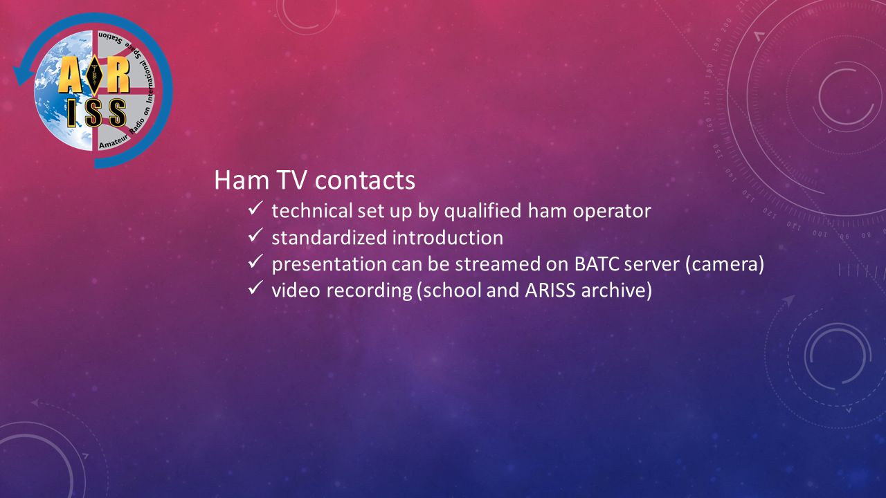 Ham TV contacts technical set up by qualified ham operator standardized introduction presentation can be streamed on BATC server (camera) video recording (school and ARISS archive)