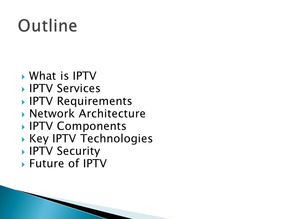 IPTV is defined as multimedia services such as television/video/audio/text/graphics/data delivered over IP based networks managed to provide the required level of quality of service and experience, security, interactivity and reliability.