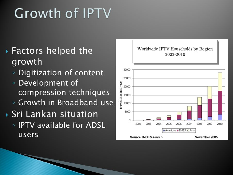 IPTV Content Delivery: TV Head End IPTV Middleware VOD Systems Media Content Protection Systems (DRM) IP STB Content Production Content Aggregation Content Delivery Content Reproduction Program Production TV Stations IPTV Service Providers TV Sets End User