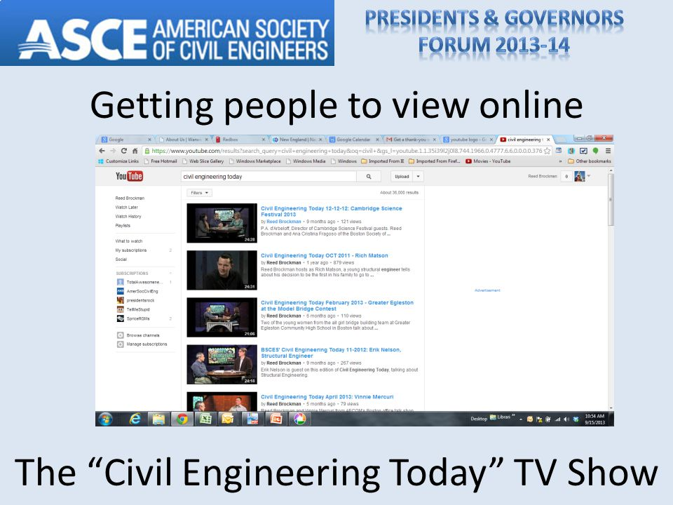 Getting people to view online The Civil Engineering Today TV Show