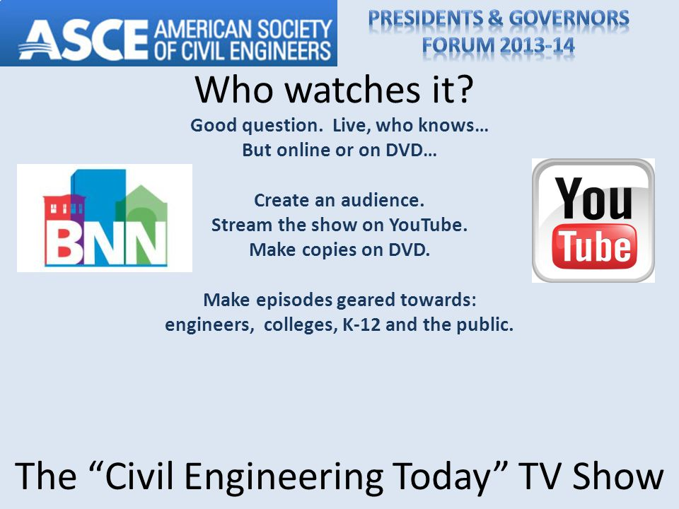 Who watches it. Good question. Live, who knows… But online or on DVD… Create an audience.