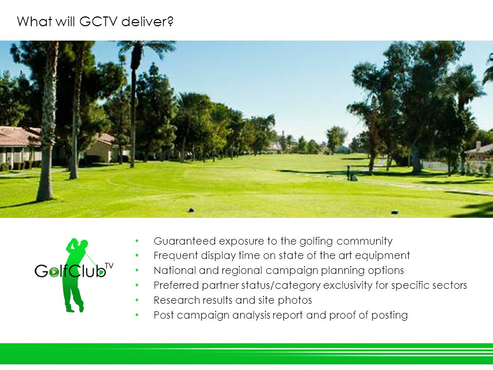 What will GCTV deliver.