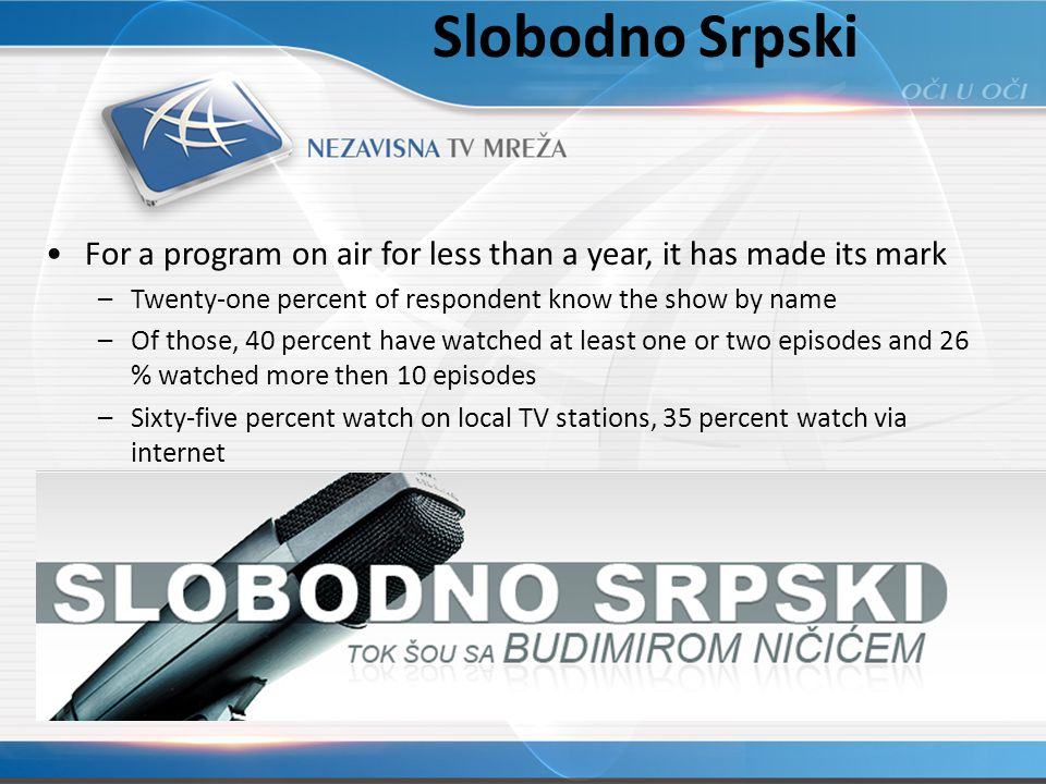 Slobodno Srpski For a program on air for less than a year, it has made its mark –Twenty-one percent of respondent know the show by name –Of those, 40 percent have watched at least one or two episodes and 26 % watched more then 10 episodes –Sixty-five percent watch on local TV stations, 35 percent watch via internet