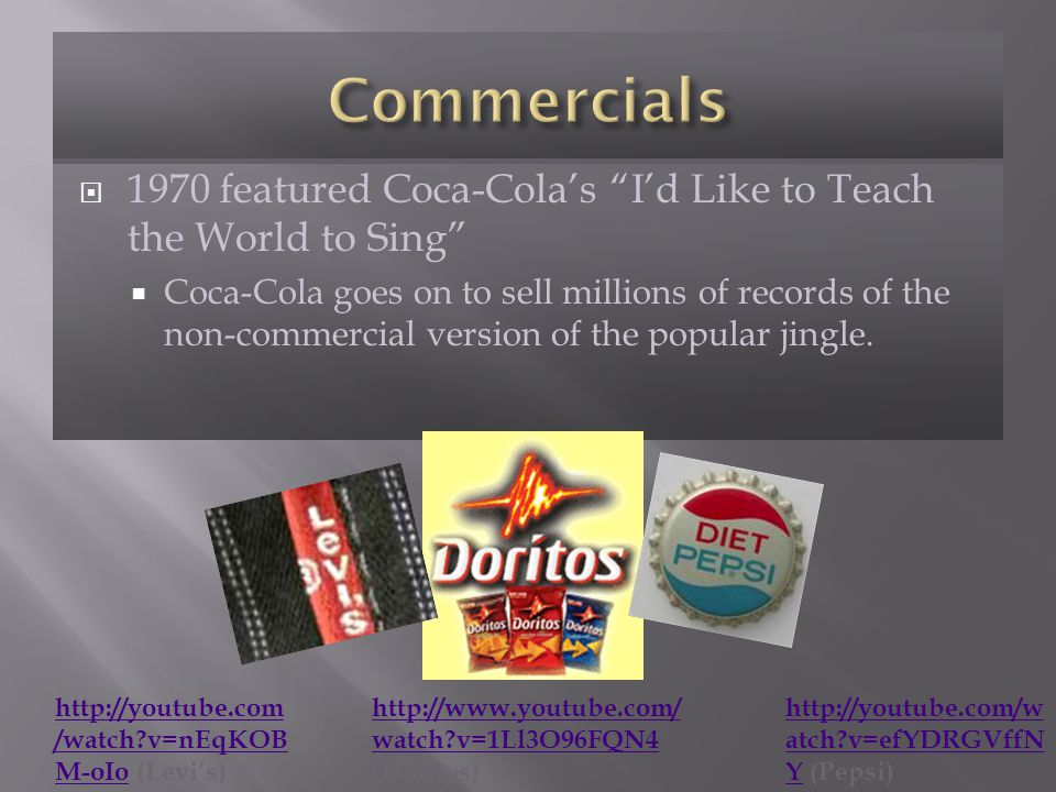 1970 featured Coca-Colas Id Like to Teach the World to Sing Coca-Cola goes on to sell millions of records of the non-commercial version of the popular